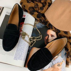 J. Crew Suede Penny Loafers Black 7